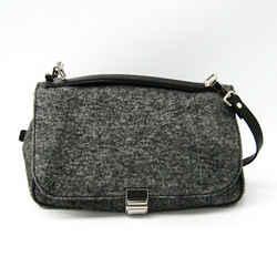 Proenza Schouler Women's Leather,wool Handbag Gray Bf502500
