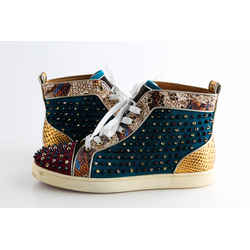 Christian Louboutin Multicolor Louis Spikes Snake Embossed Suede Sneakers