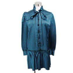 Marc Jacobs Black Teal Stripes Satin Dress Size 6