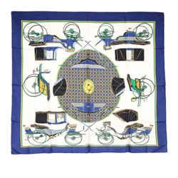 Vintage Authentic Hermes Blue Les Voitures A Transformation Silk Scarf France