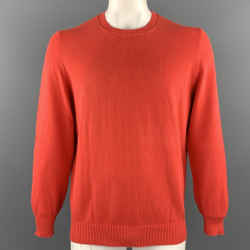 BRUNELLO CUCINELLI Size 44 Orange Knitted Cotton Crew-Neck Pullover