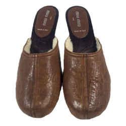 MIU MIU 1996 Brown Leather Fleece Lined Kitten Heel Clogs Size 6