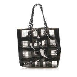 Vintage Authentic Chanel Black Vinyl Plastic Window Line Tote Bag France