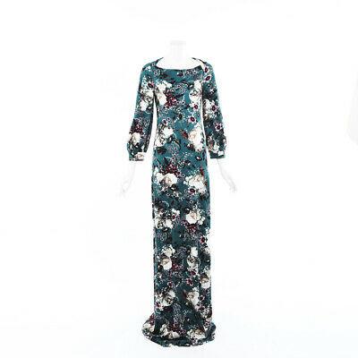 Erdem Etheline Green Floral Jersey Gown SZ 6
