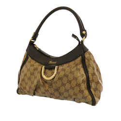Brown Gucci GG Crystal Abbey D-Ring Shoulder Bag