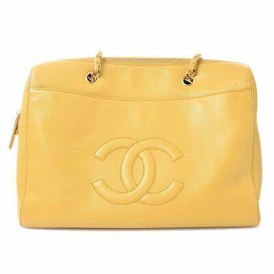 Auth Chanel Chanel Caviar Skin Deca Coco Mark Shoulder Bag Yellow