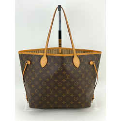 Louis Vuitton Neverfull MM Brown Monogram Canvas Leather Tote Authentic A536