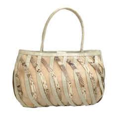 Nancy Gonzalez Croc & Python Tan / Cream Leather Shoulder Bag