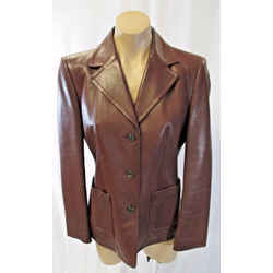 Michael Kors Italy Brown Leather Jacket/blazer W/ Two Front Open Pockets Size 8