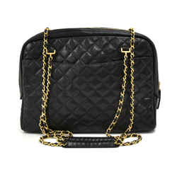 Vintage Chanel Double pocket Black Quilted Leather Chain Shoulder Bag
