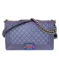 16C Chanel Iridescent Purple Mermaid Rainbow Classic Medium Large Boy Bag