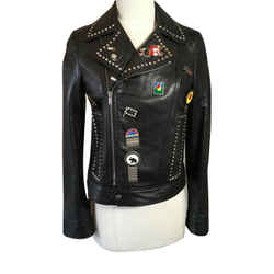 Saint Laurent Size 38 Black Leather Studs Enamel Pins Jacket Nwt 2400-128-12119