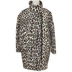 Msgm Coat Jacket Knee Length Animal Print Wool Long Sleeve Zip Closure 40 Bnwt