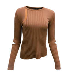 Nina Ricci Ribbed Wool Knit Sweater With Leather Trim