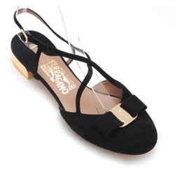 SALVATORE FERRAGAMO Black Suede Leather FELMA Shoe Heel Ankle Gold 7.5B NIB