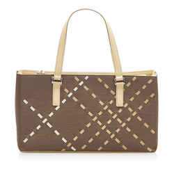 Vintage Authentic Burberry Brown Dark Brown Canvas Fabric Handbag United Kingdom