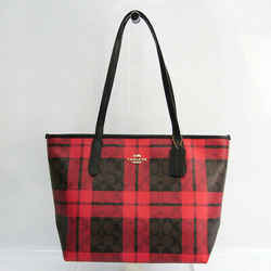 Coach Signature Field Plaid Check Print Zip Top Tote F80028 Women's Lea BF528304