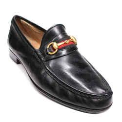 Gucci  - Gold Horsebit Web Stripe Buckle Loafers - Black Leather - US 10