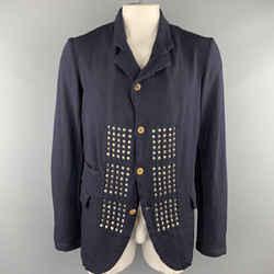Comme Des Garcons Homme Plus Evergreen Size L Navy Reverse Studded Blazer Jacket
