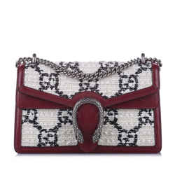 Vintage Authentic Gucci White Tweed Fabric Dionysus GG Shoulder Bag Italy