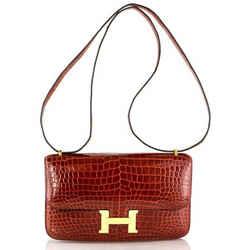 Hermes Constance 25cm Elan Miel Porosus Croc Leather Gold Hardware Double Gusset Shoulder Bag