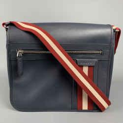 BALLY Navy Leather Rectangle Shoulder Bag