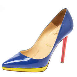 Christian Louboutin Blue Patent Leather Pigalle Plato Pumps Size 38