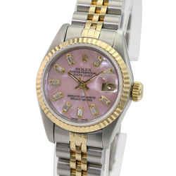 Rolex Women's Datejust Gold and Steel Pink MOP Diamond Baguette 26mm-Quickset