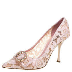Dolce & Gabbana Blush Pink Lace Crystal Embellished Pointed Toe Pumps Size 39