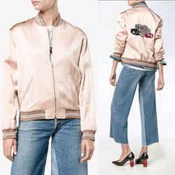 sz 42 NEW $2,790 SAINT LAURENT Blush Pink SATIN SEQUIN LOVE Patch BOMBER JACKET