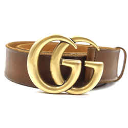 Gucci Brown Marmont Gg Gold Buckle Leather Belt Size 70/28