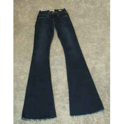 Frame Dark Blue Le High Flare Denim Jeans With Frayed Hem - Size 24