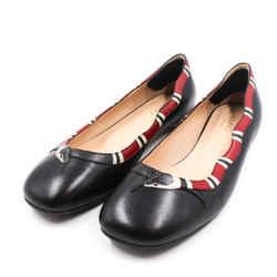 Gucci Size 8.5/39 Black & Red Yoko Ballet Flats
