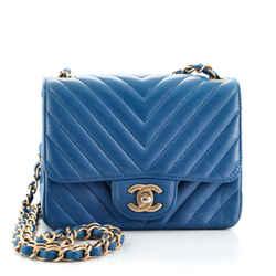 Square Classic Single Flap Bag Chevron Lambskin Mini
