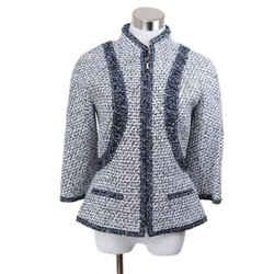 Chanel Black White Tweed Silk Trim Jacket Sz 8