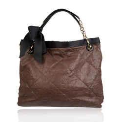 Lanvin Brown Soft Quilted Leather Large Amalia Tote Shoulder Bag