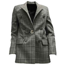 Alexander Wang Black / White Plaid Houndstooth Double Breasted Blazer