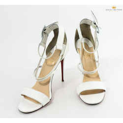 Christian Louboutin Choca 100 White Leather Sandal
