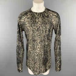 HAIDER ACKERMANN Size XL Black & Taupe Animal Print Wool / Nylon Raglan Pullover