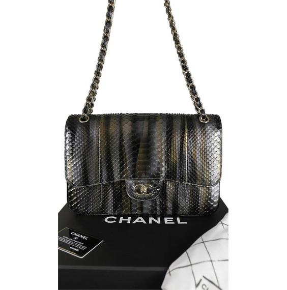 "Chanel Metallic Python Jumbo Classic Double Flap Shoulder Bag 12""L x 8.3""H x 3.8""W"
