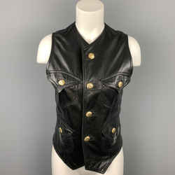 GIANNI VERSACE Size L Black Leather Gold Buttons Vest
