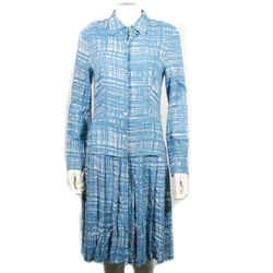 Prada - Long Sleeve Pleated Dress - Blue White Collared Button Down - Us 8 - 44