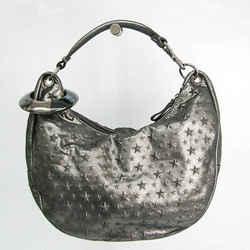 Jimmy Choo Sky Bag Women's Leather Studded Shoulder Bag Metallic Black BF530523