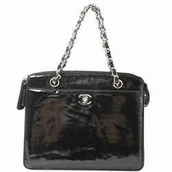 Auth Chanel Chanel Patent Coco Mark Chain Handbag Shoulder Bag Black