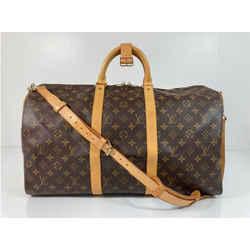 Louis Vuitton Monogram Keepall Bandoliere 50 Top Handle Travel Duffle Bag