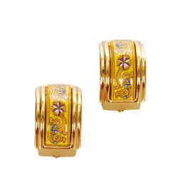 Gold Hermes Cloisonne Clip On Earrings