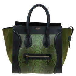 Celine Green/Black Python and Suede Mini Luggage Tote