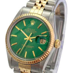 Rolex Mens Datejust Green Index Dial 18K Yellow Gold Fluted Bezel 36mm