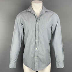 RALPH LAUREN Purple Label Size S Blue & Grey Stripe Cotton Spread Collar Long Sleeve Shirt