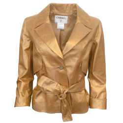 Chanel Gold Metallic Tie Jacket
